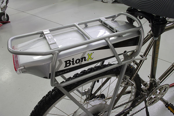 Bionx battery integrated into the bikes rear rack