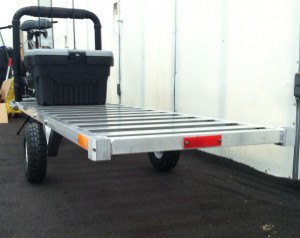 Bicycle trailer with optional fly rod rack and stowage box