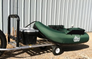 The options of rod rack and storage box showing another style of float boat fully inflated.